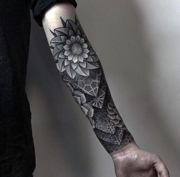 3d stil sehr sch nes schwarzes unterarm tattoo tribal. Black Bedroom Furniture Sets. Home Design Ideas