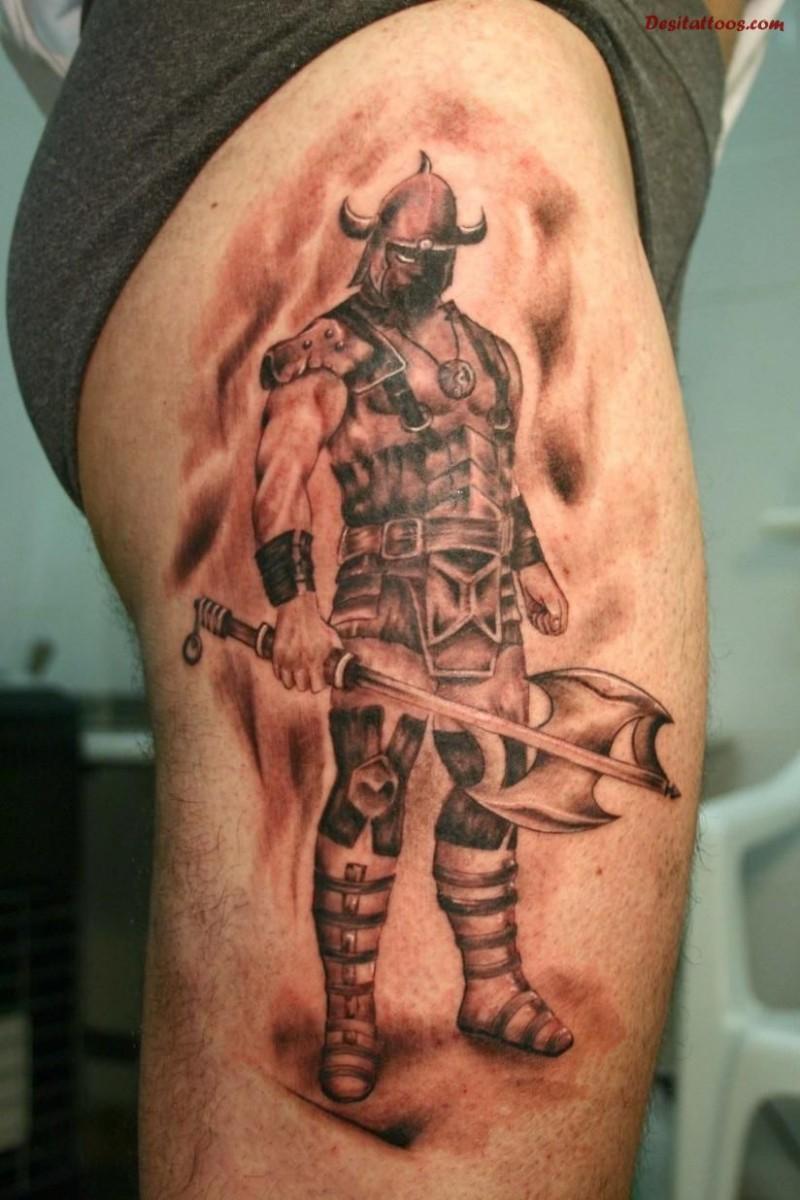 stehender tapferer wiking krieger mit einer axt tattoo auf. Black Bedroom Furniture Sets. Home Design Ideas