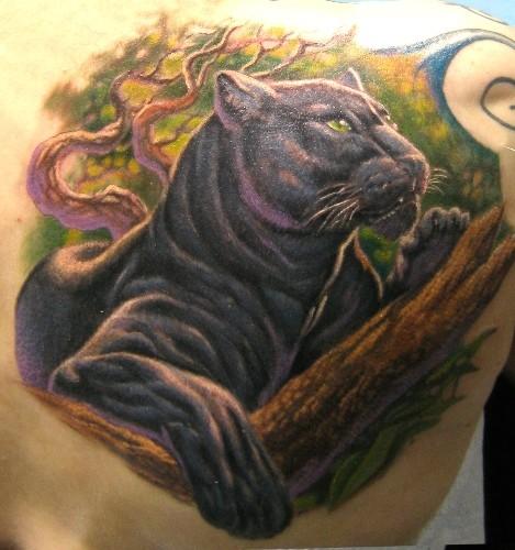 bunter panther liegt auf einem baum tattoo am r cken. Black Bedroom Furniture Sets. Home Design Ideas