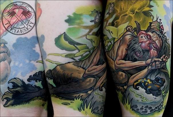 illustrativer stil farbiges oberschenkel tattoo mann der mit frosch schl ft. Black Bedroom Furniture Sets. Home Design Ideas