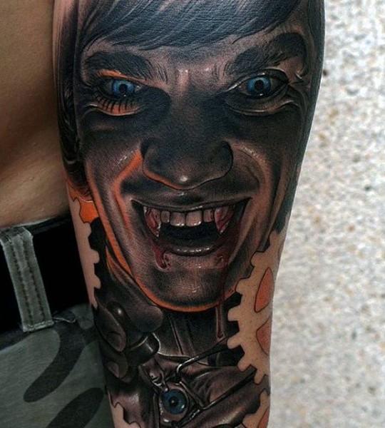 beeindruckend gemalter und blutiger vampir mann tattoo am arm. Black Bedroom Furniture Sets. Home Design Ideas