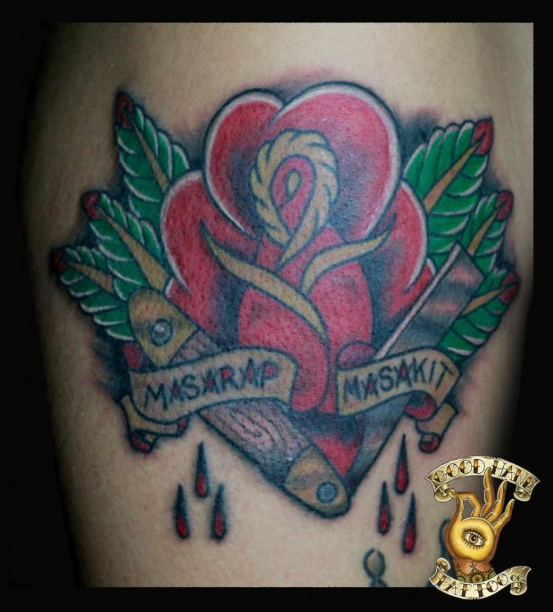 gedenk stil einfache farbige rose mit blutiger rasierklinge und schriftzug tattoo am bein. Black Bedroom Furniture Sets. Home Design Ideas