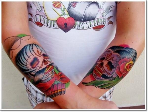 mexikanische zucker m nner und frauen unterarm tattoo. Black Bedroom Furniture Sets. Home Design Ideas