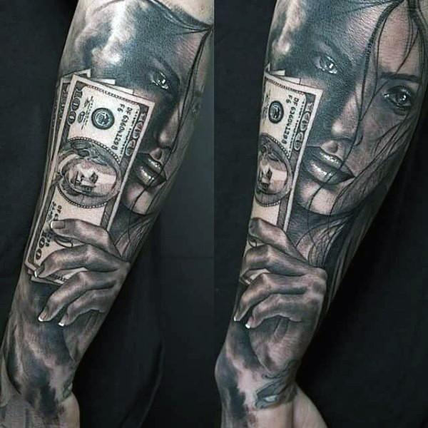 Natürlich aussehendes schwarzes und weißes Unterarm Tattoo