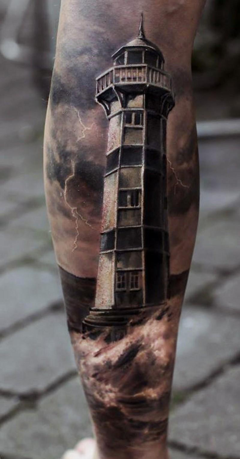 Nat rlich aussehender detaillierter gro er leuchtturm tattoo am bein - Tattoo leuchtturm ...