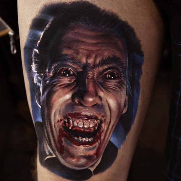 dracula vampir aus alten horrorfilm tattoo am oberschenkel. Black Bedroom Furniture Sets. Home Design Ideas