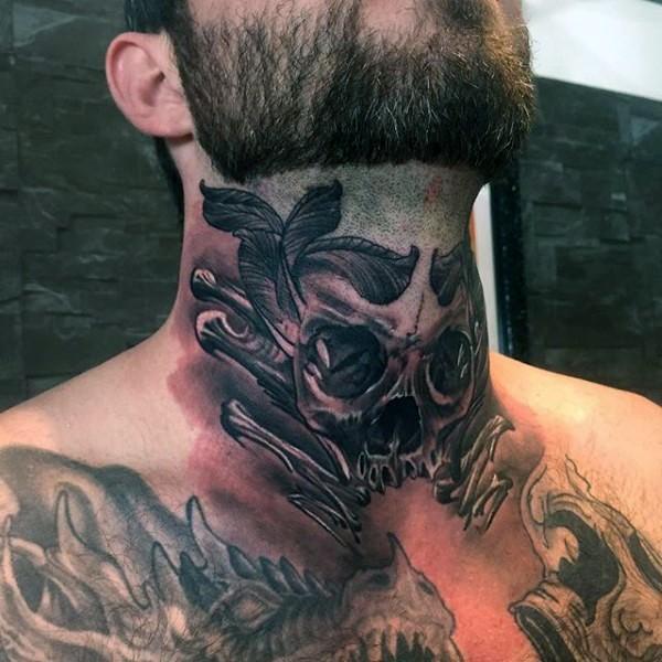 oldschool schwarzes hals tattoo des menschlichen sch del und knochen. Black Bedroom Furniture Sets. Home Design Ideas