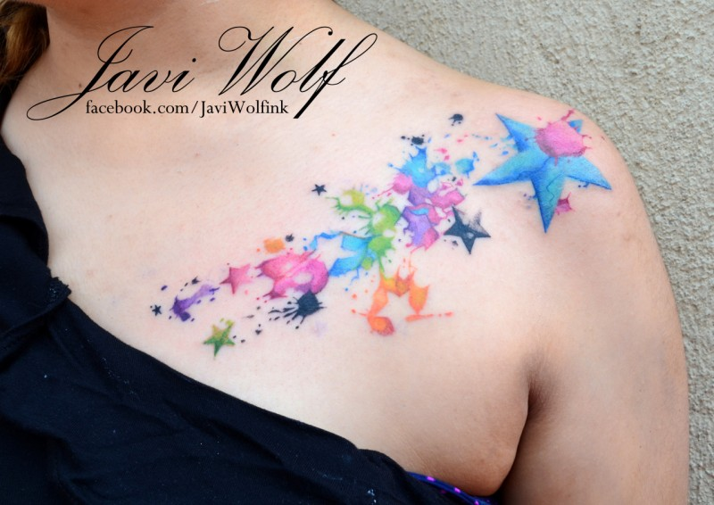 regenbogenfarbige sterne mit farbetropfen tattoo an der. Black Bedroom Furniture Sets. Home Design Ideas