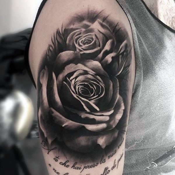 zarte super realistische 3d rosen tattoo oberarm tattoo. Black Bedroom Furniture Sets. Home Design Ideas