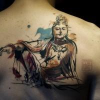 buddha tattoo am r cken f r m nner im neuen stil. Black Bedroom Furniture Sets. Home Design Ideas