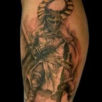 super realistischer gladiator krieger tattoo an der. Black Bedroom Furniture Sets. Home Design Ideas